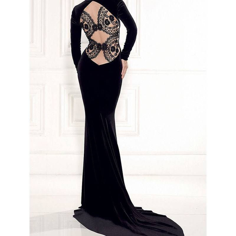 Black Velvet Dress Long with Back Lace Design