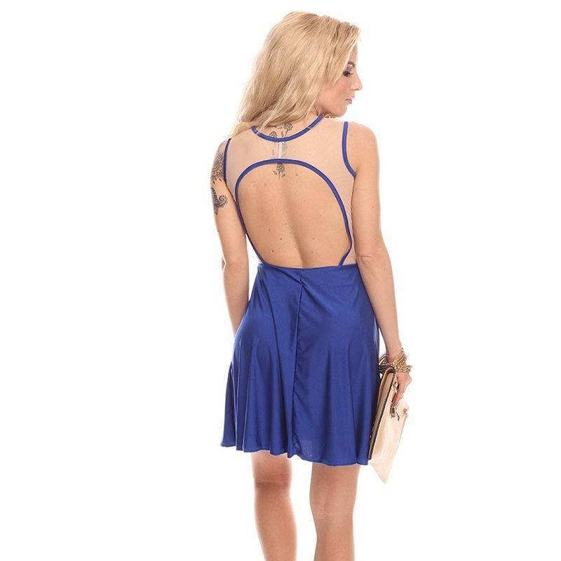 Blue Dress with Sheer Deep V-Cut Bodice