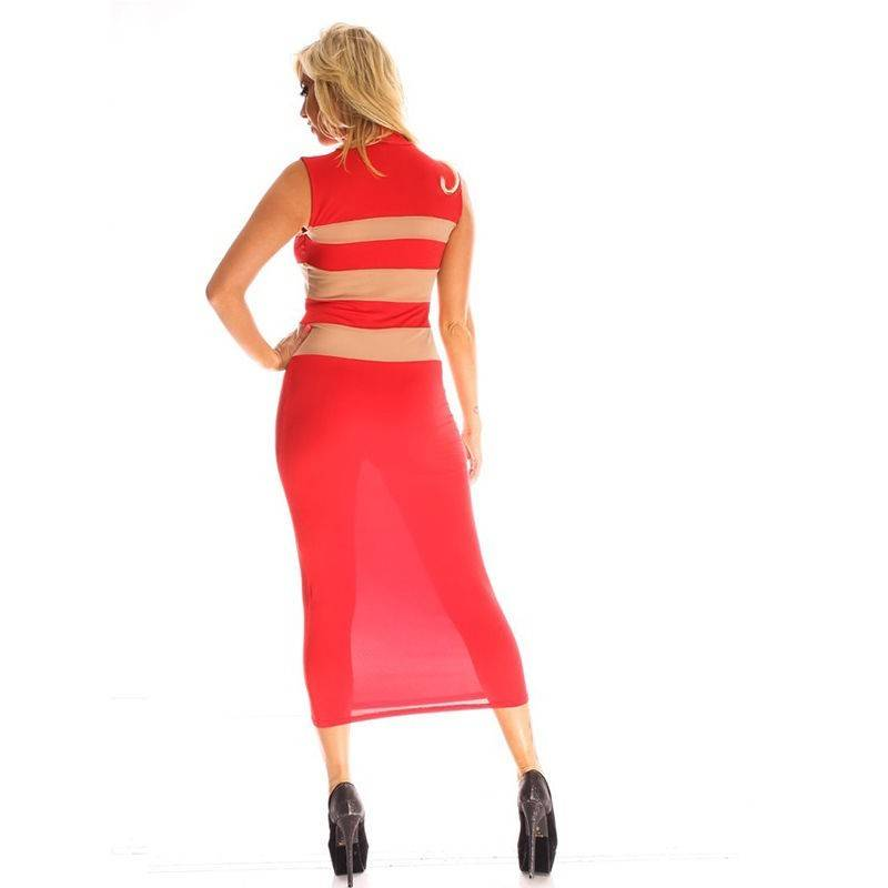Red Dress with Optical Illusion