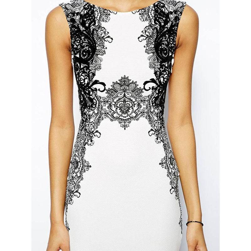 White Dress with Black Design