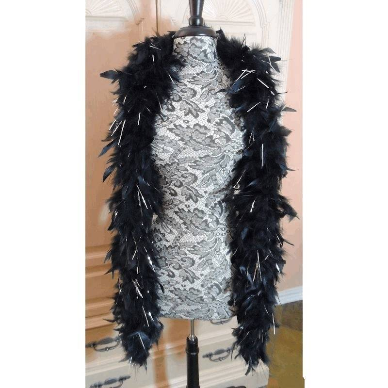Feather Boa Black and Silver for your Costume
