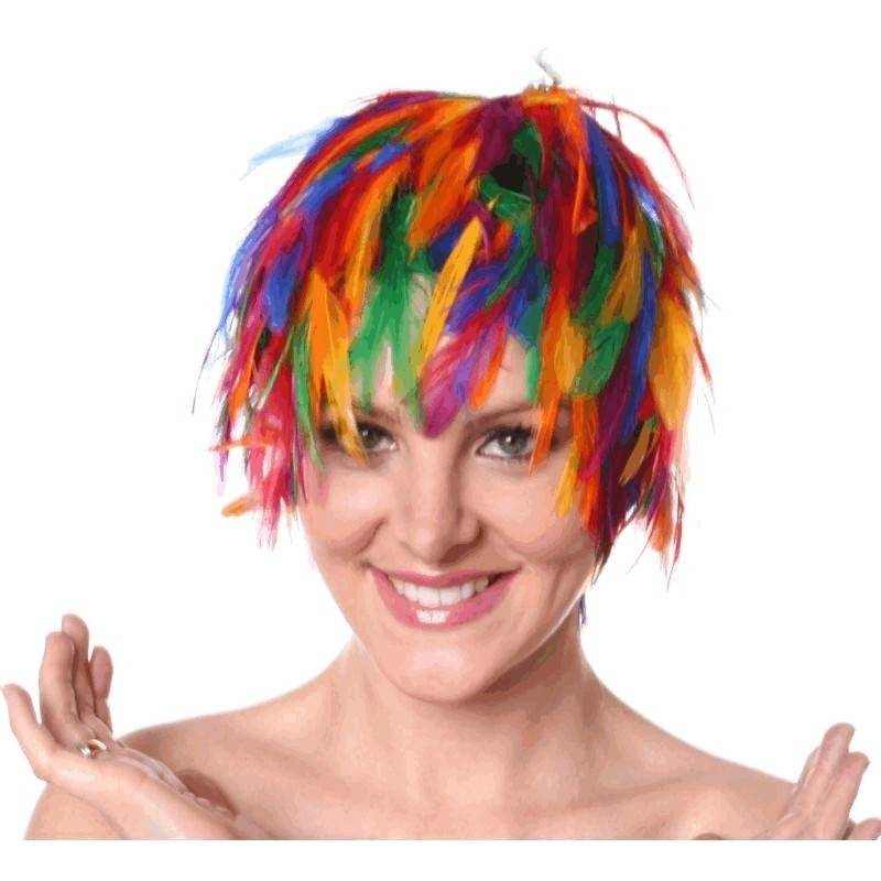 Wig Feather Hair Multicolored for Your Costume