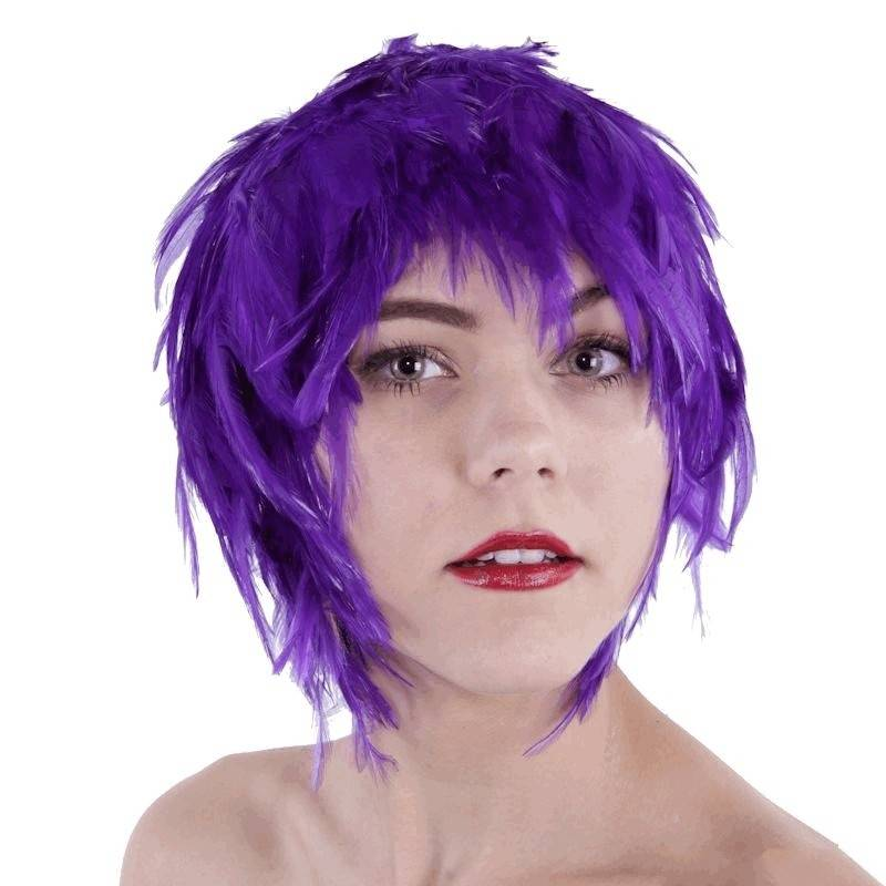 Wig Feather Hair Purple for Your Costume