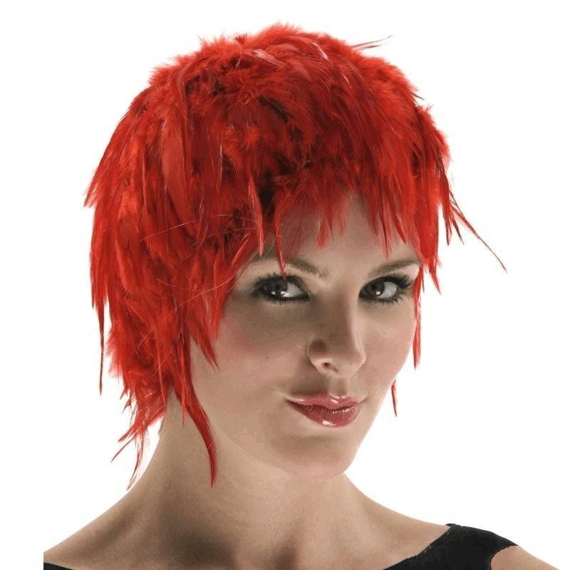 Wig Feather Hair Red for Your Costume
