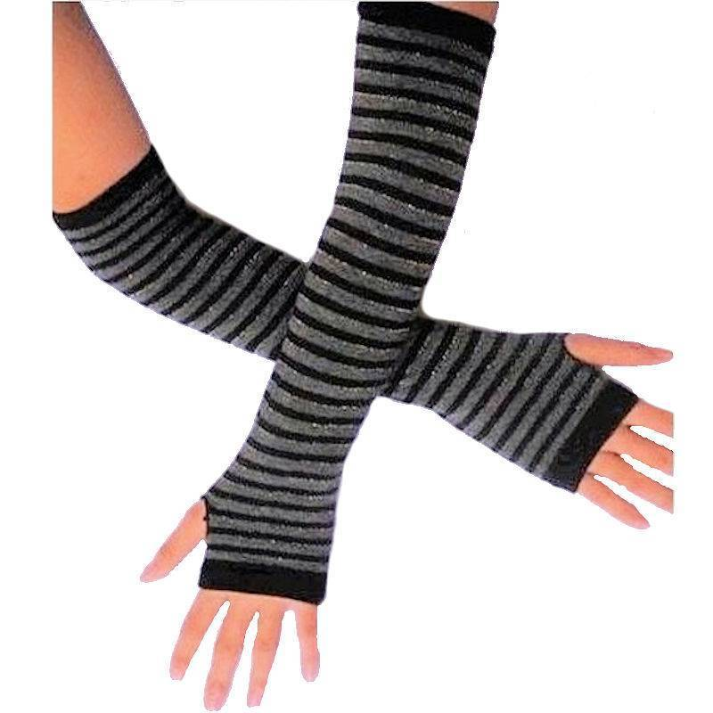 Gloves Finger-less Black and Gray Striped