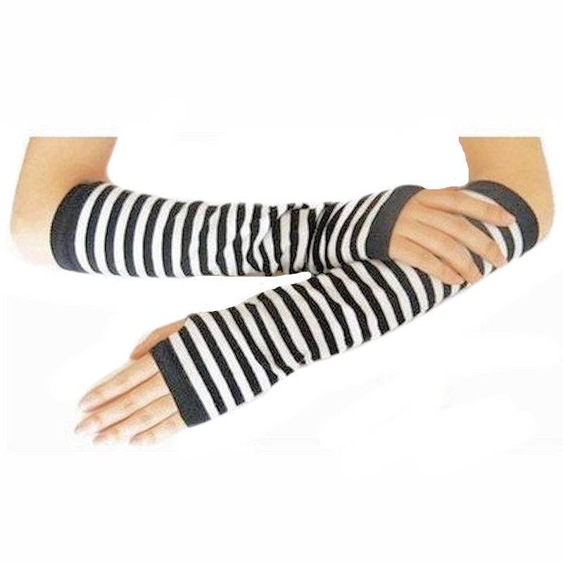 Gloves Finger-less Black and White Striped
