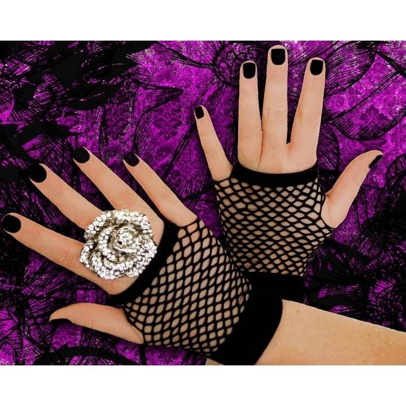 Gloves Fingerless Fish Net Short for Your Costume