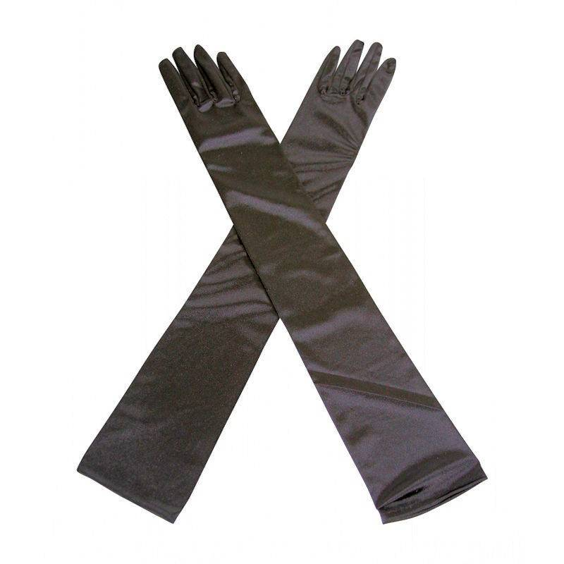 Gloves Black Satin Long and Glamorous