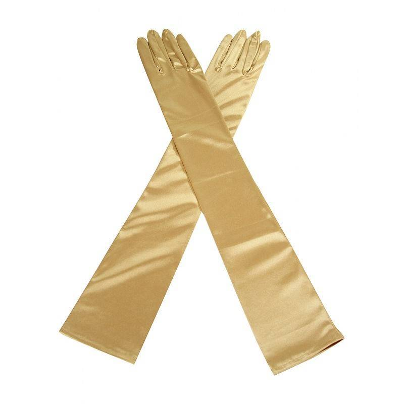 Gloves Gold Satin Long and Glamorous