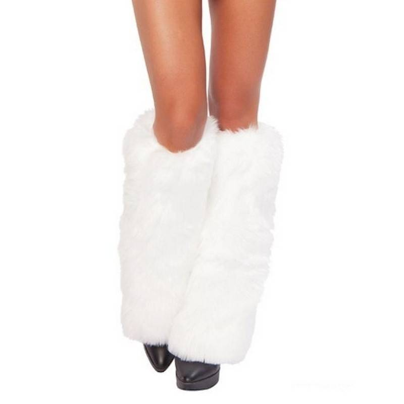 Leg Warmers White Furry Winter Wonderland