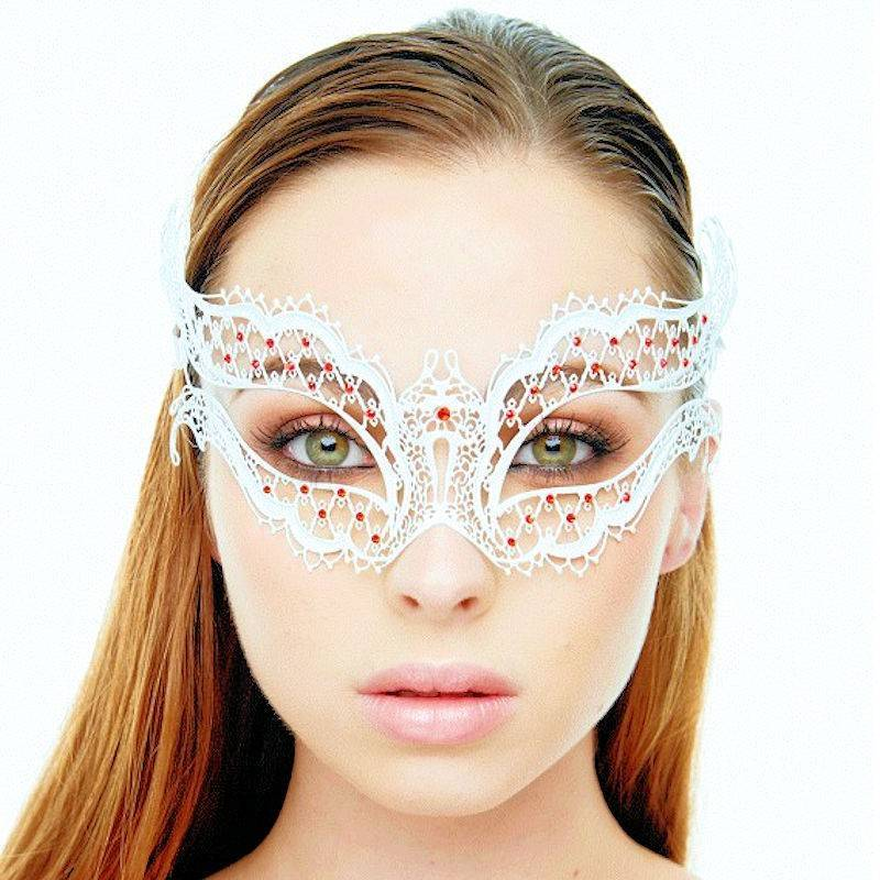 Mask White Bridal Babe with Red Stones