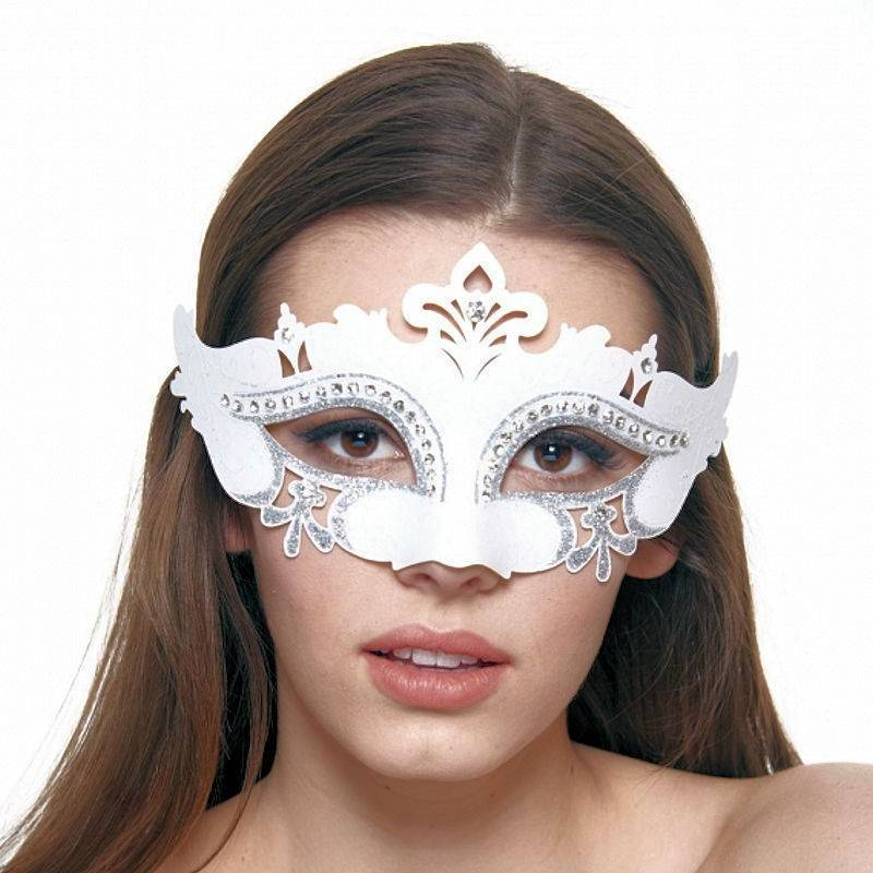 Mask White Enchantress with Silver Glitter