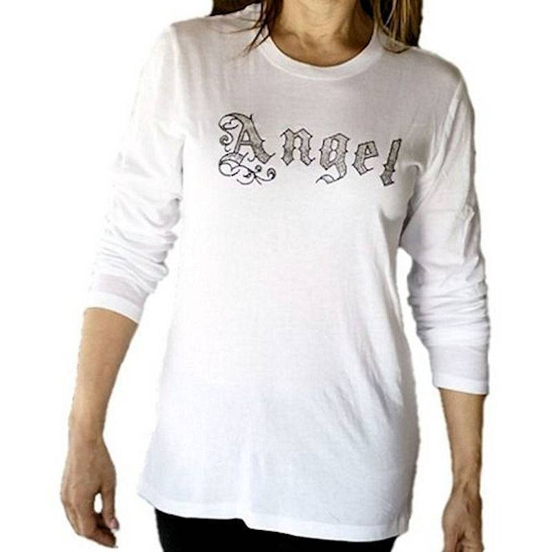 T-Shirt Angel and Cross Rhinestone by Sabrina Barnett