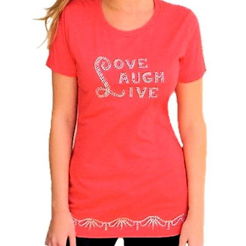T-Shirt Rhinestone Live Love Laugh in Red by Sabrina Barnett