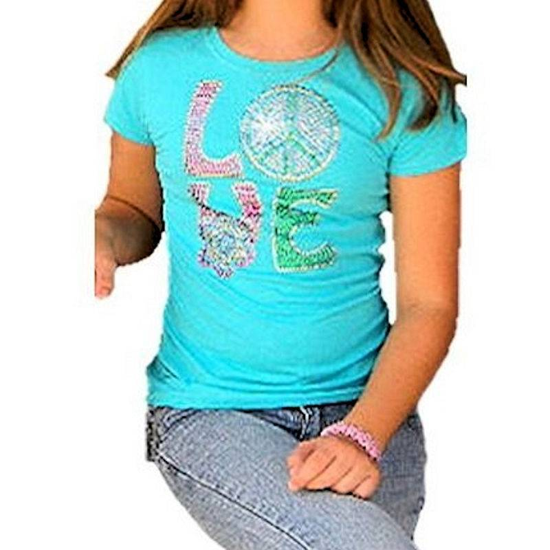 T-Shirt Rhinestone Young Love for Girls by Sabrina Barnett