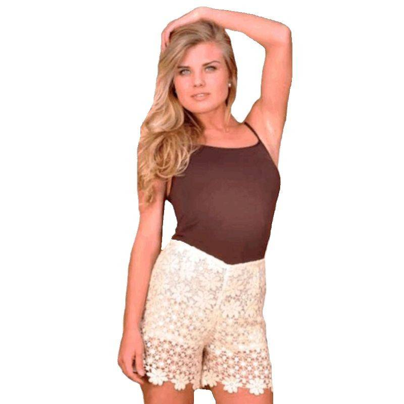 Shorts Ivory Crocheted Lace