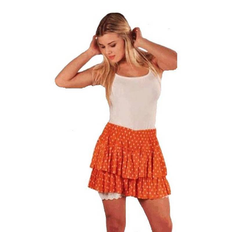 Shorts Layered Polka Dot Orange and White