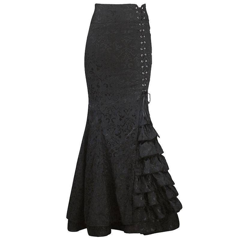 Skirt Black Mermaid Tail Style Long to Wear with Corsets
