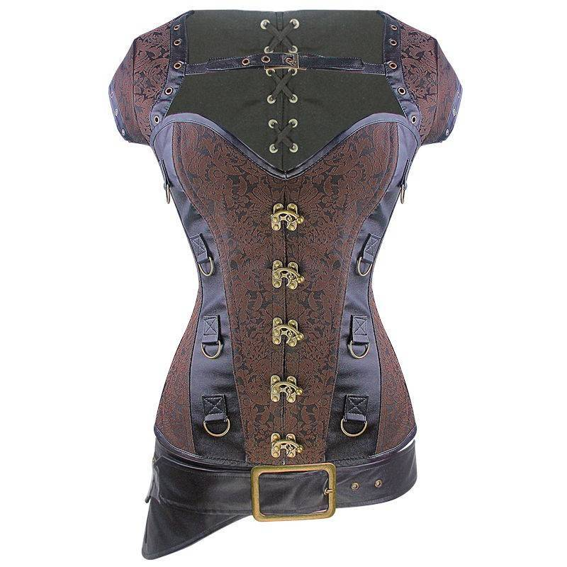 Steel Boned Steam Punk Corset Brown Also Plus Sizes