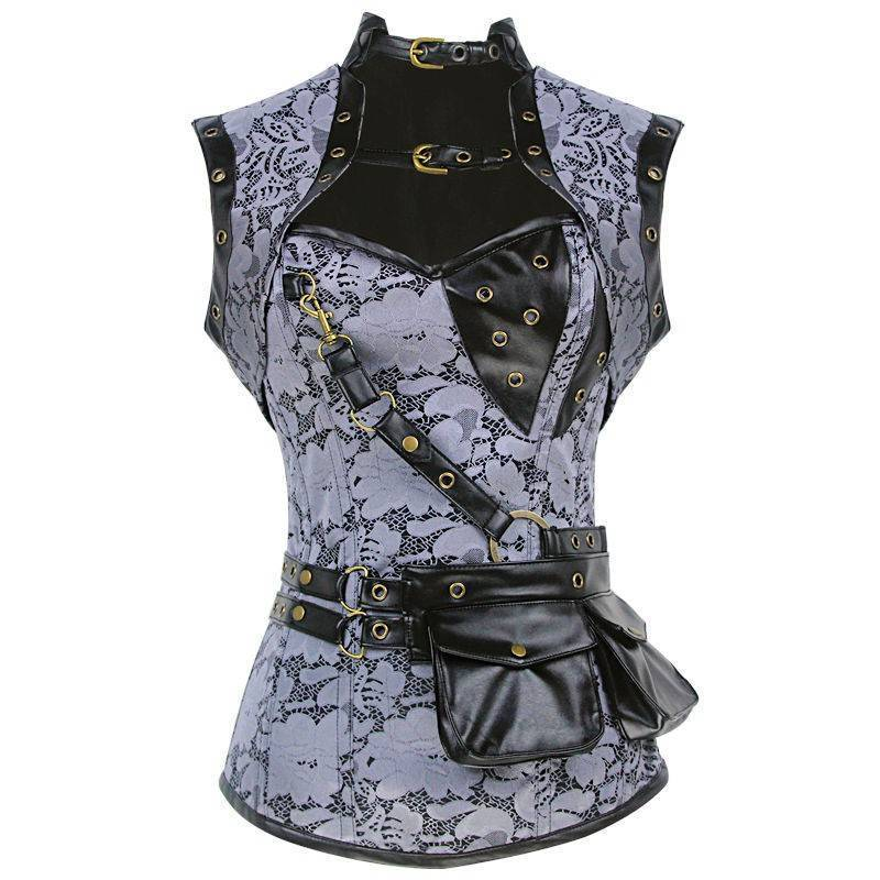 Steel Boned Corset Steam Punk Silver Also Plus Sizes
