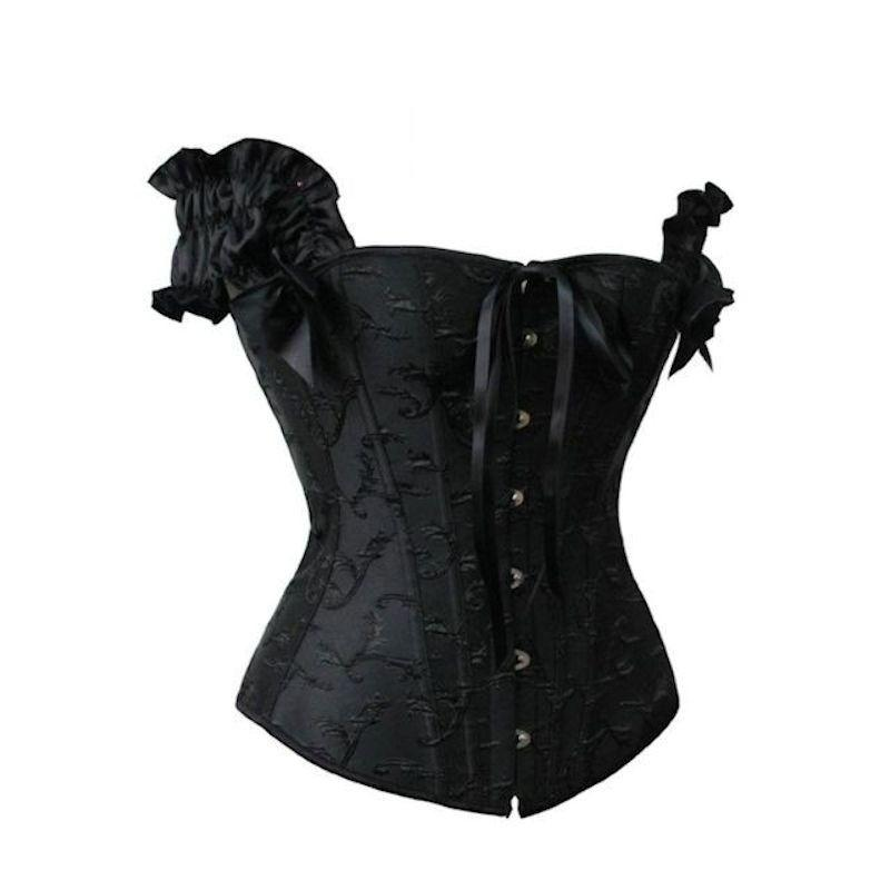 Steel Boned Corset Black with off the Shoulder Sleeves