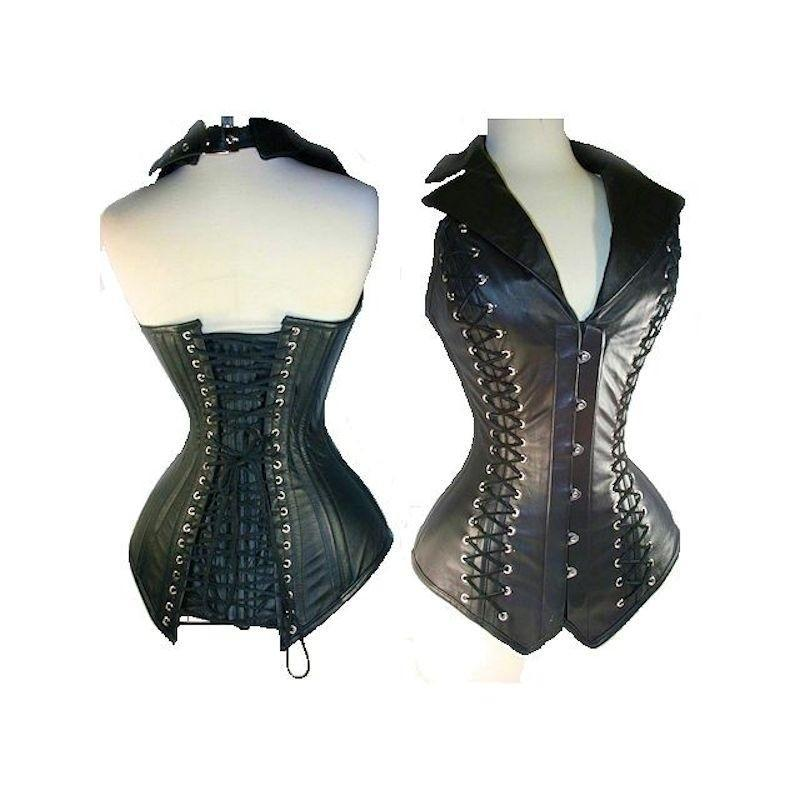 Steel Boned Corset Black Leather Fabric with Collar