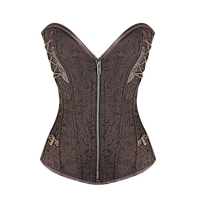 Steel Boned Corset Brown Also in Plus Sizes