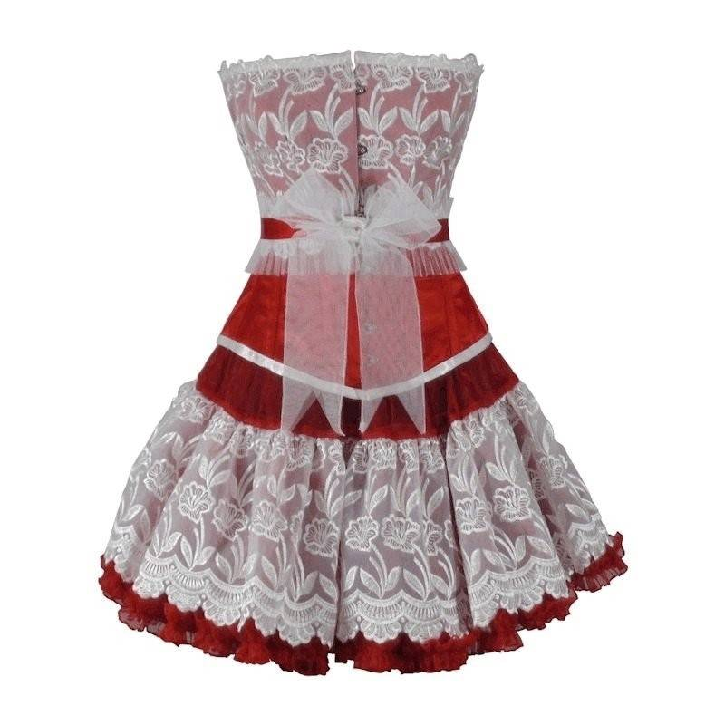 Steel Boned Corset Set Red Valentine Top and Skirt