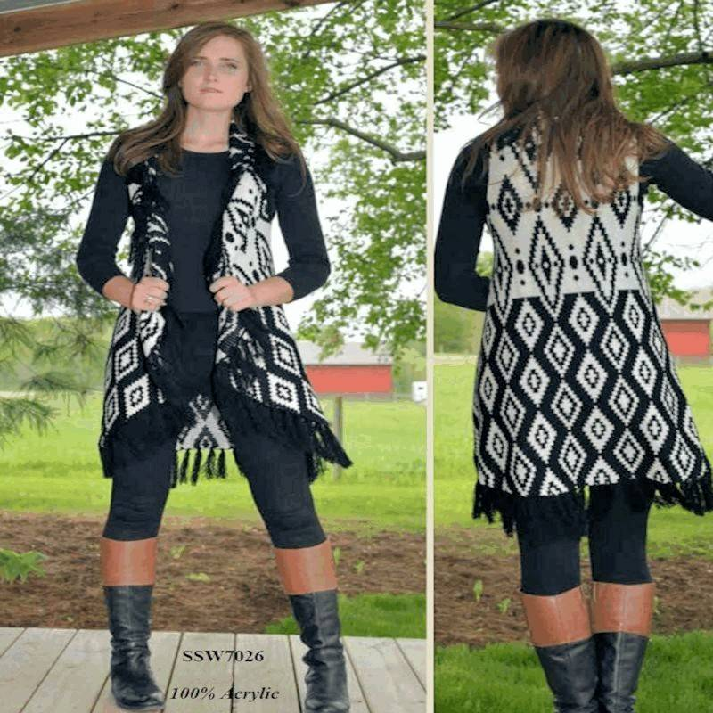 Sweater Super Soft Long Vest Style Black and White with Fringe