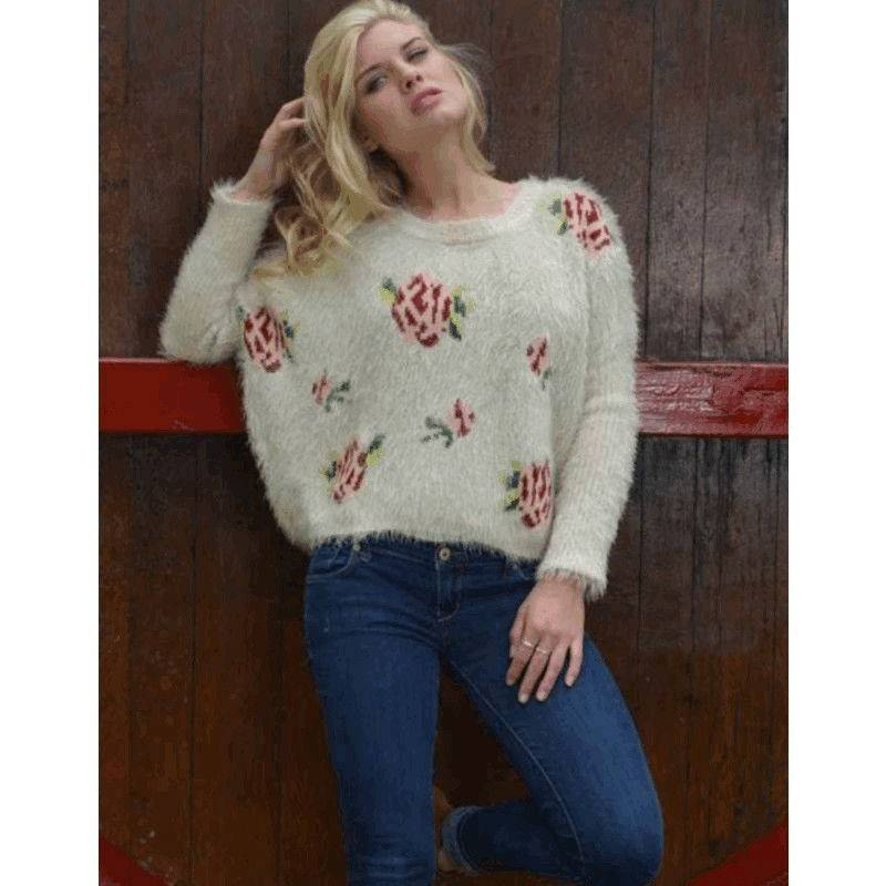 Sweater Vintage Vixen Luxuriously Soft with Rose Designs