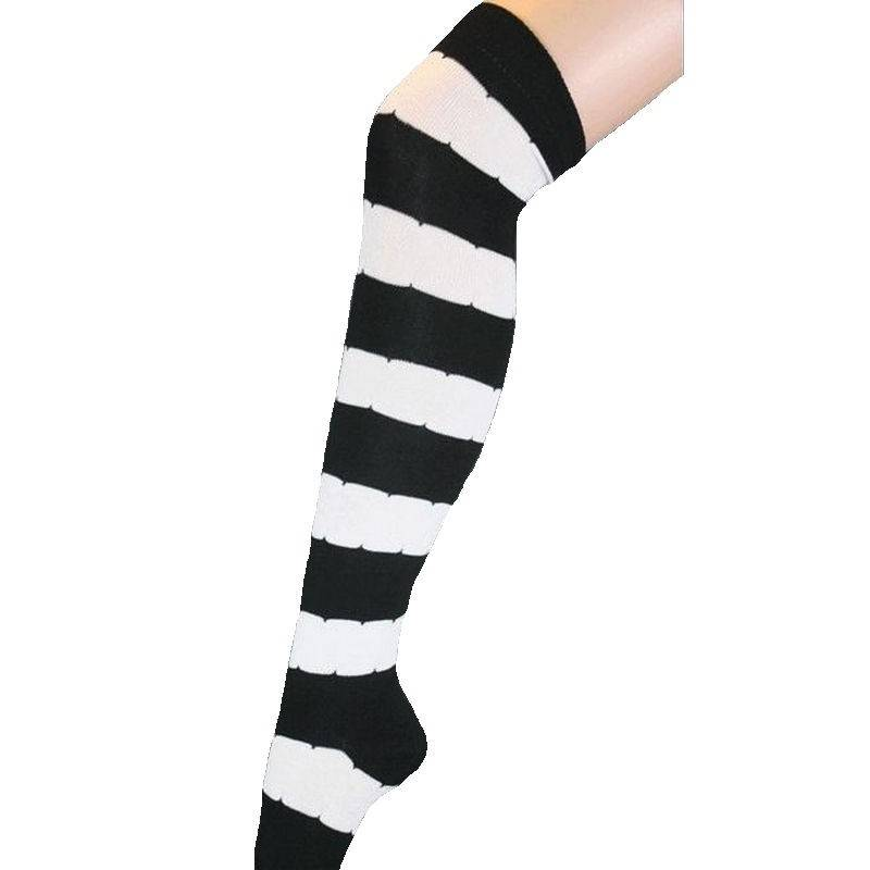 Striped Thigh High Socks Black White Wide Design
