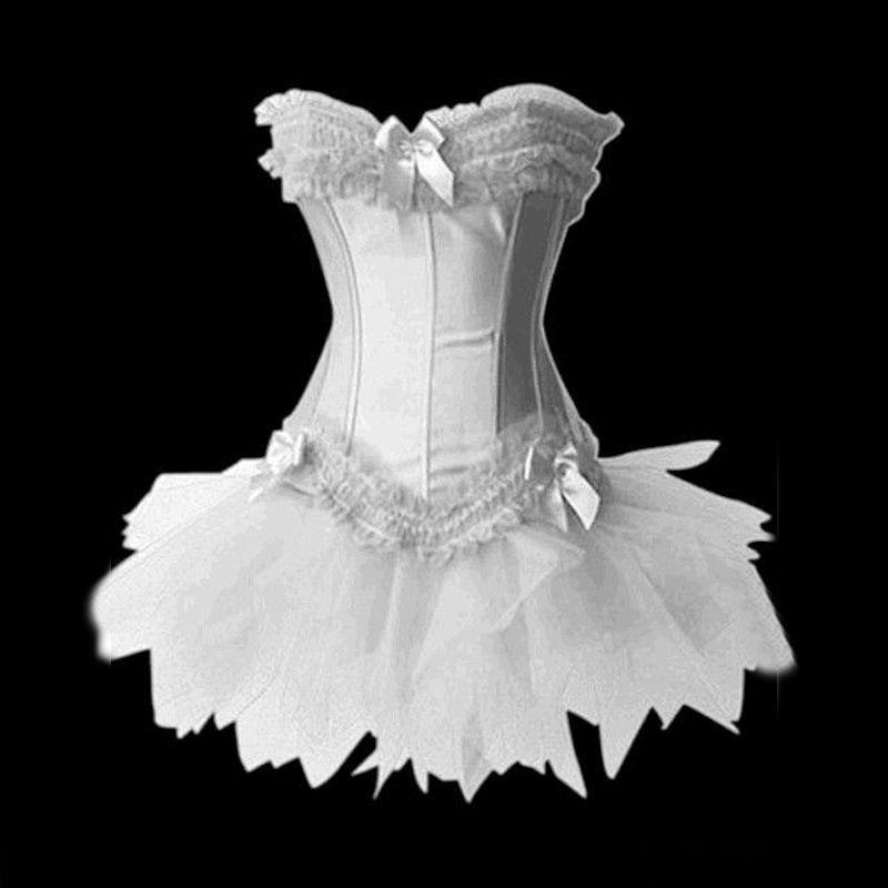 Bridal Corset Set White Top with Skirt