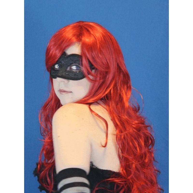Wig Red Long Hair Wavy for Costumes