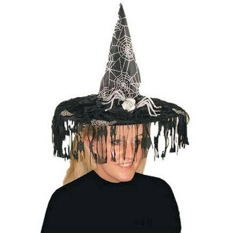 Witch Hat for a Halloween Costume in Spiderweb Design