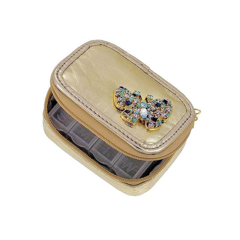 Pillbox Organizer 7 Day Crystal and Gemstone Butterfly