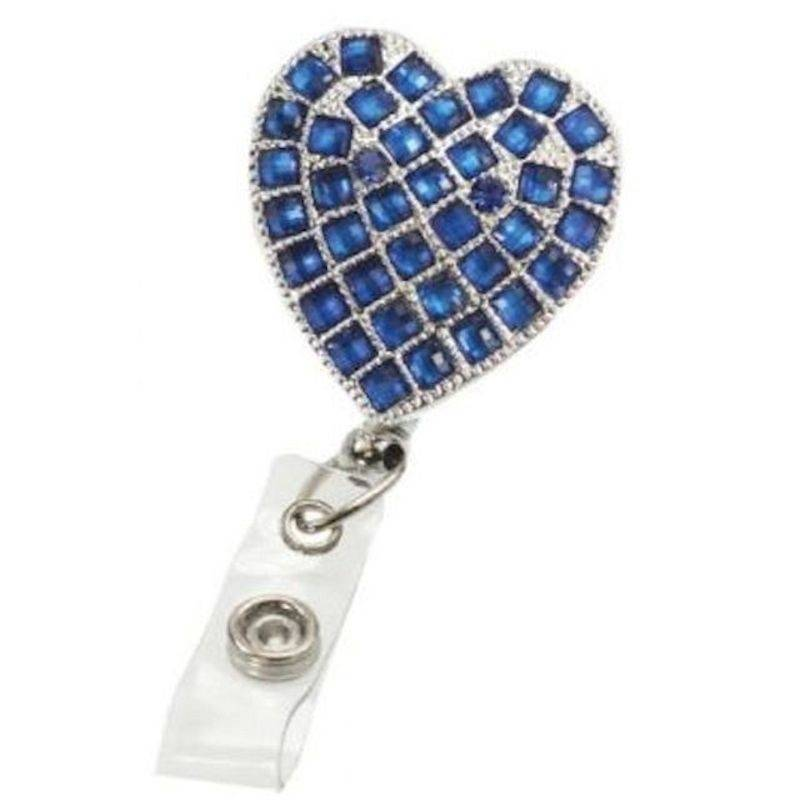 Badge Holder Metal Hearts on Fire Sapphire with Retractable Reel