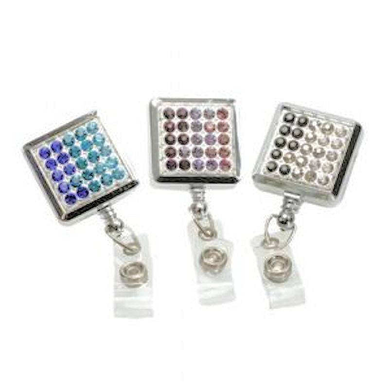 Badge Holder Metal Square Crystal Brilliance Retractable Reel