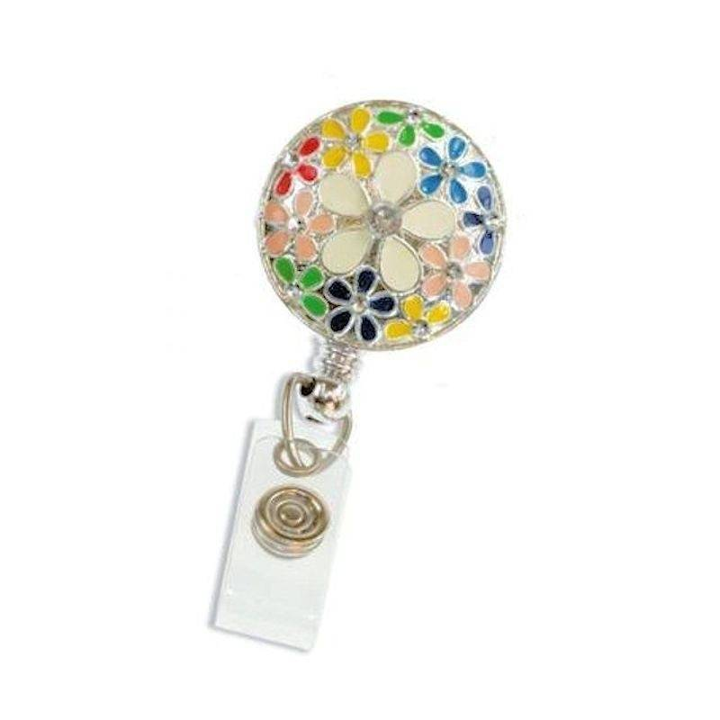 Badge Holder Metal Round Floral with Crystals