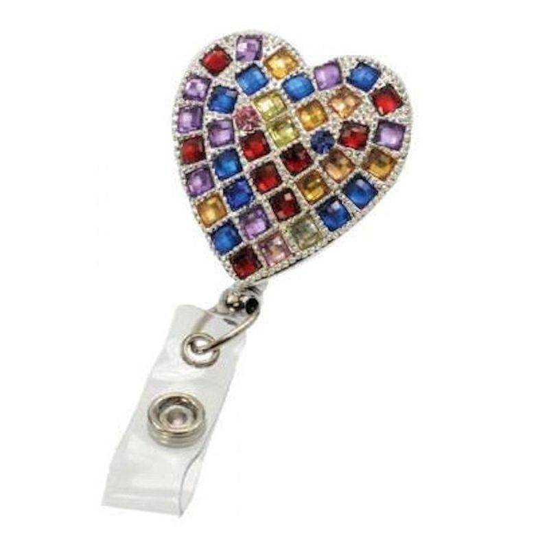 Badge Holder Metal Hearts on Fire with Retractable Reel