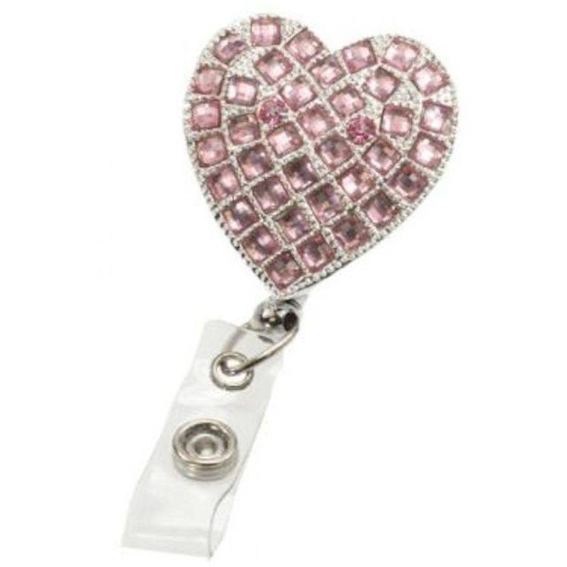 Badge Holder Metal Hearts on Fire Rose with Retractable Reel