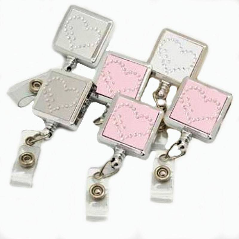 Badge Holder Metal Square Sparkle Hearts with Retractable Reel