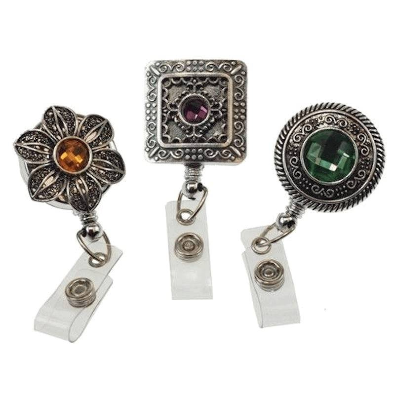 Badge Holder Vintage Style with Glittering Crystal