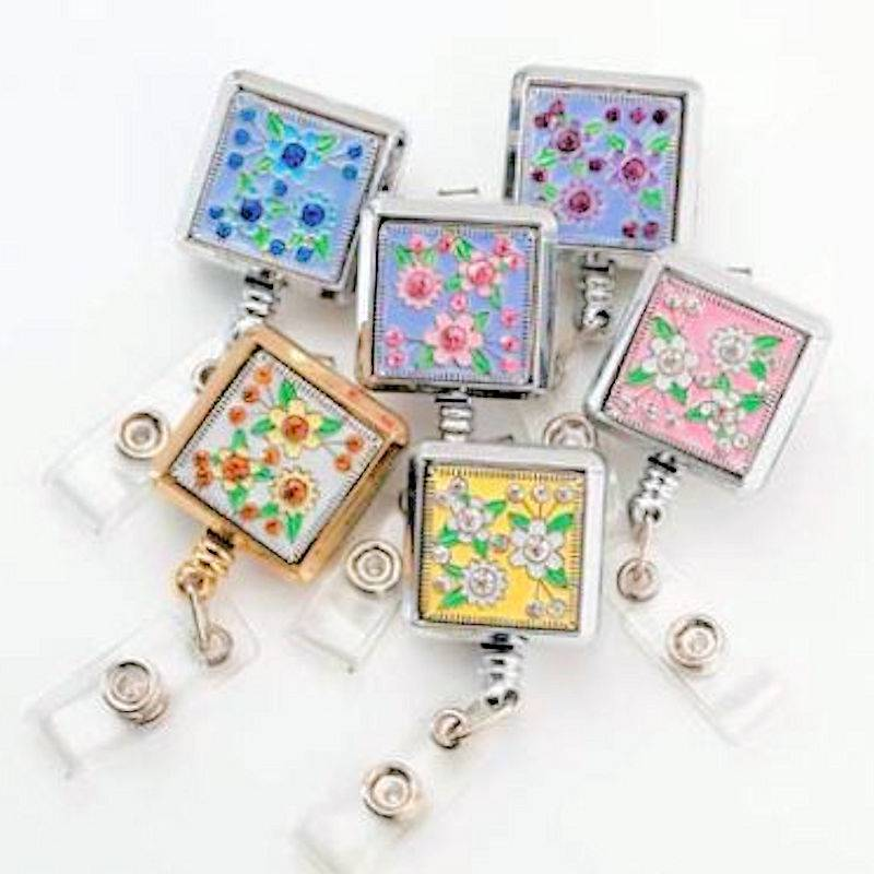 Badge Holder Metal Square Floral Brilliance Retractable Reel