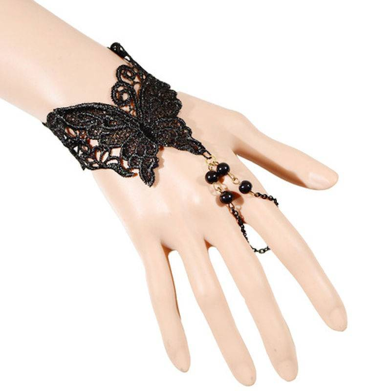 Bracelet Butterfly Delight in Black Lace with Finger Chain