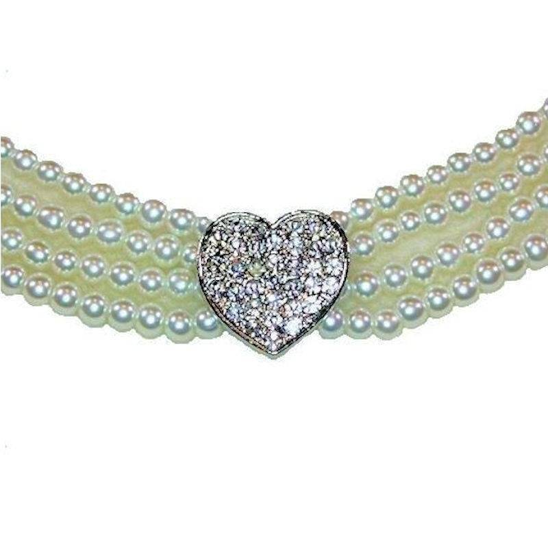 Bracelet Pearl Beads and Crystal Heart