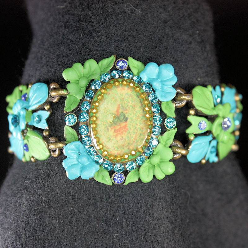 Bracelet Vintage Teal and Green with Crystal Flowers