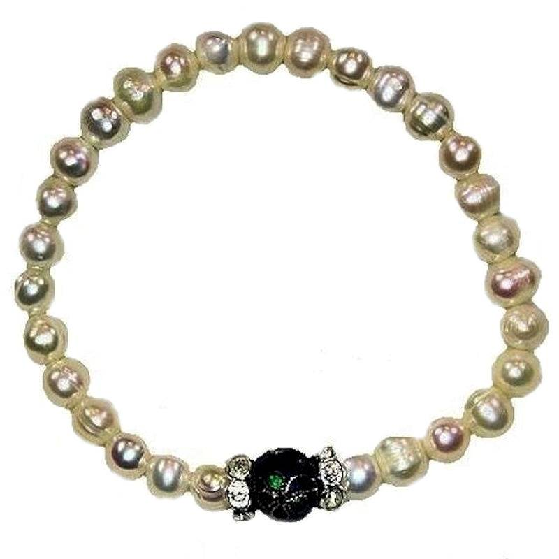 Bracelet Genuine Pearl with Blue Cloisonne Bead