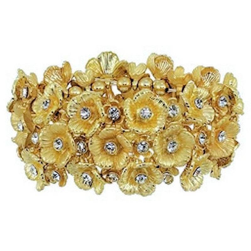 Bracelet of Glittering Golden Flowers by Spring Street Designs