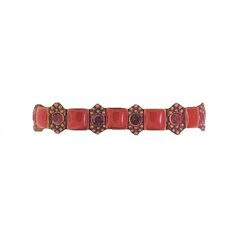 Bracelet Ruby Red Squares and Diamond Shaped Beads