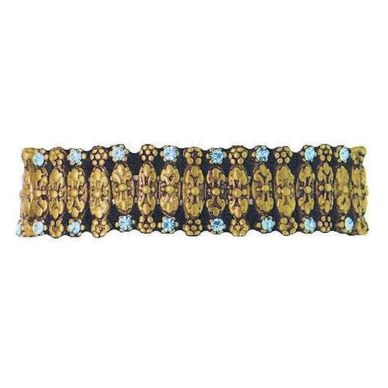 Bracelet Vintage Style Antique Gold with Teal Crystals